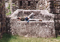 Stone bench at Machu Picchu